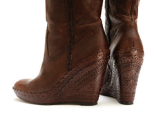 Ash Wedge Heel Knee Boots in Brown Tooled Leather, UK5