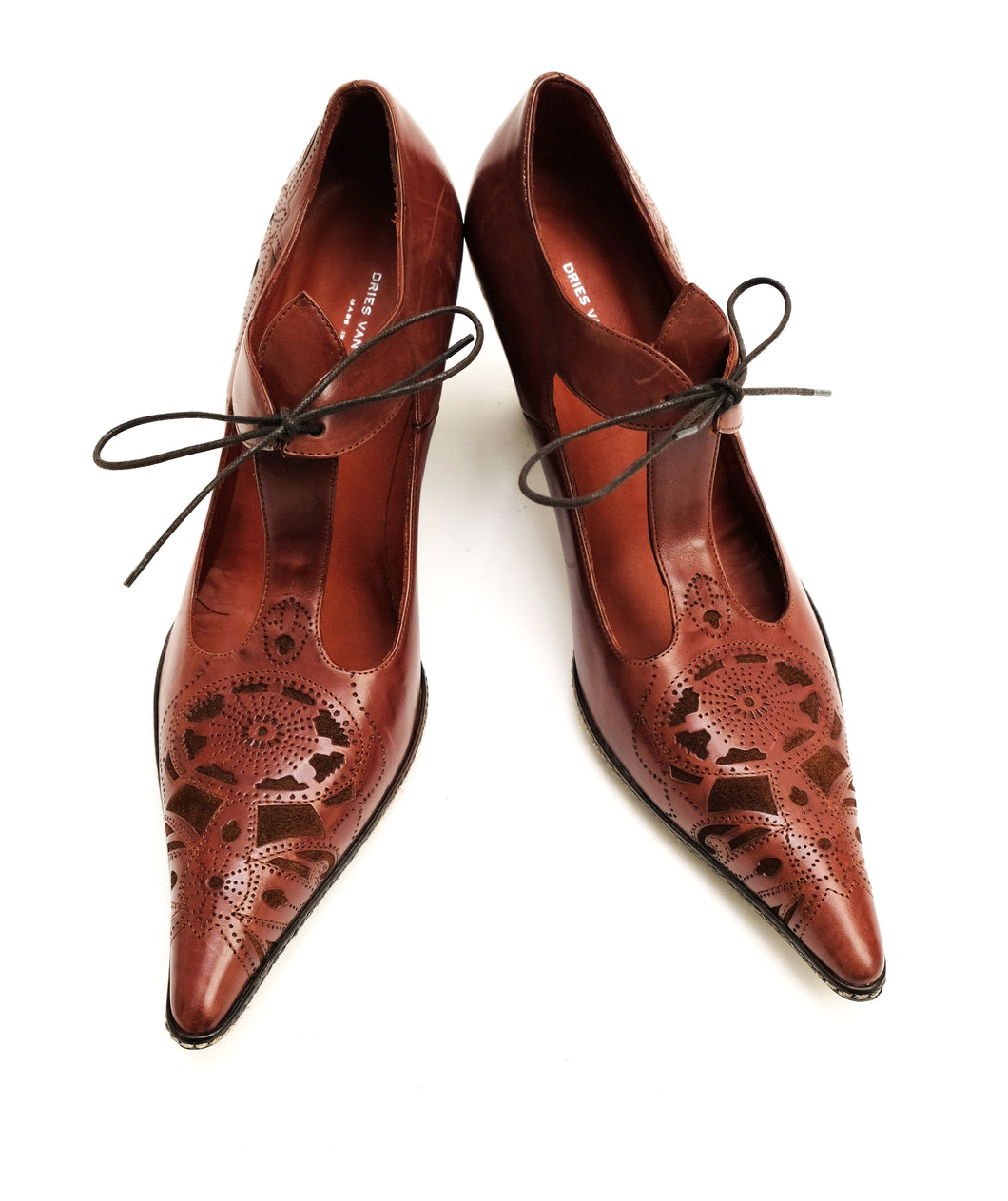 Dries Van Noten Brown Mary Jane Shoes with Suede Details, UK5-5.5
