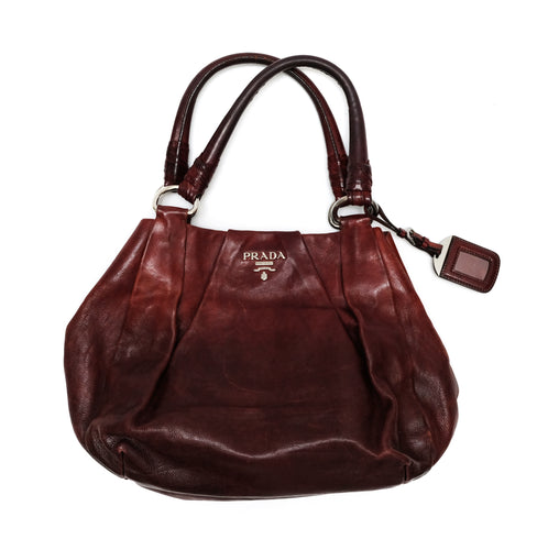 Prada Handbag in Oxblood Leather, Medium