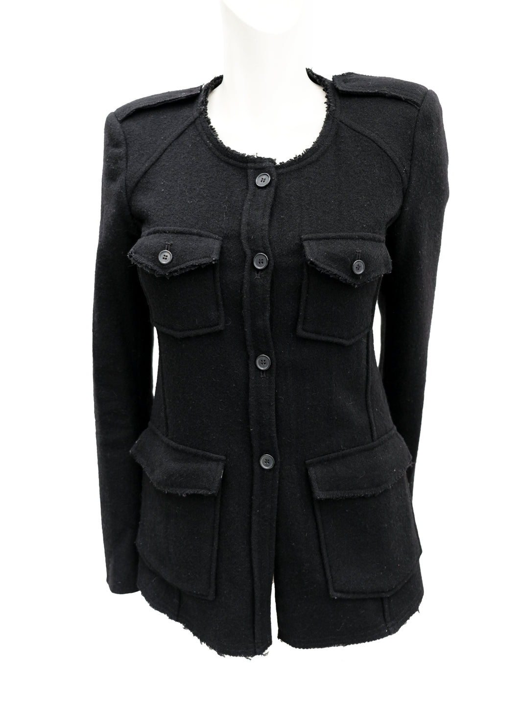 Isabel Marant Collarless Unstructured Jacket in Black Wool, UK8-10
