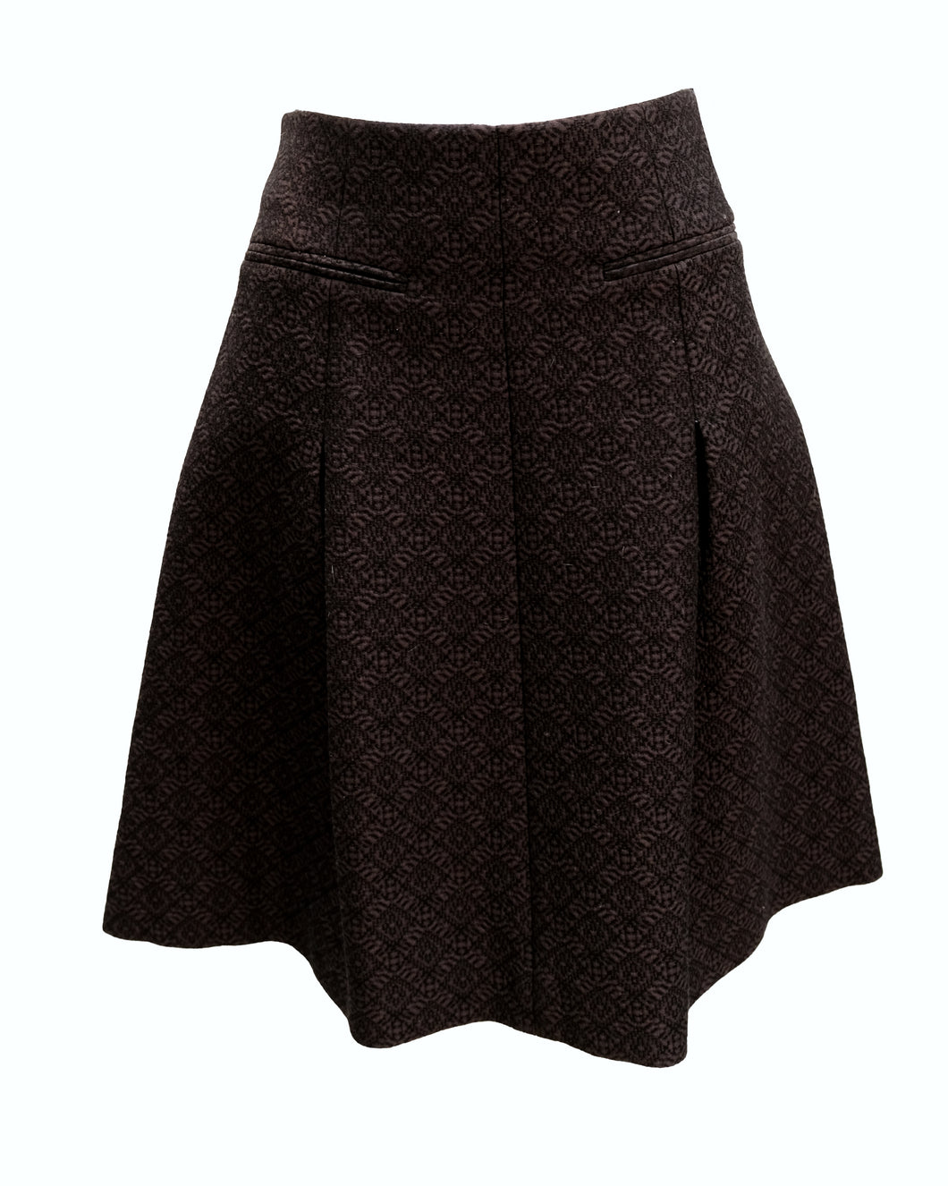 Celine Pleated A line Skirt in Black Jacquard, UK12