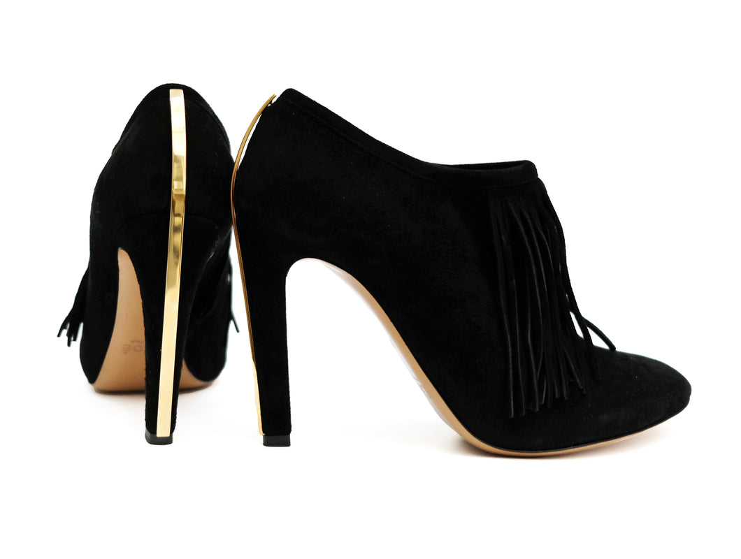 Chloe High Heel Fringed Shoes in Black Suede with Gold Trim, EU38.5