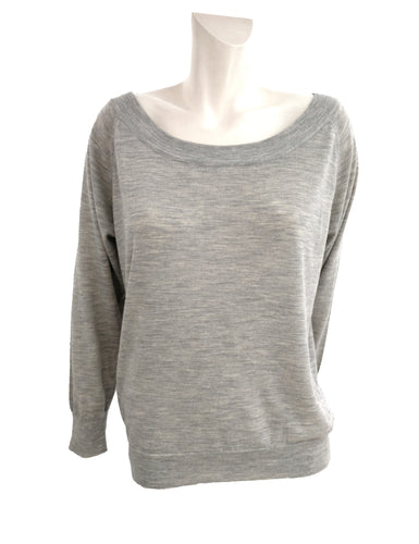 Margaret Howell Boat Necked Jumper in Pale Grey Marl, UK12