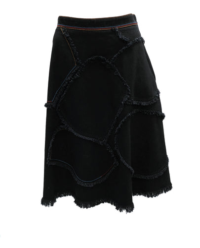 Sonia Rykiel Frayed Patchwork Denim Skirt, UK12-14