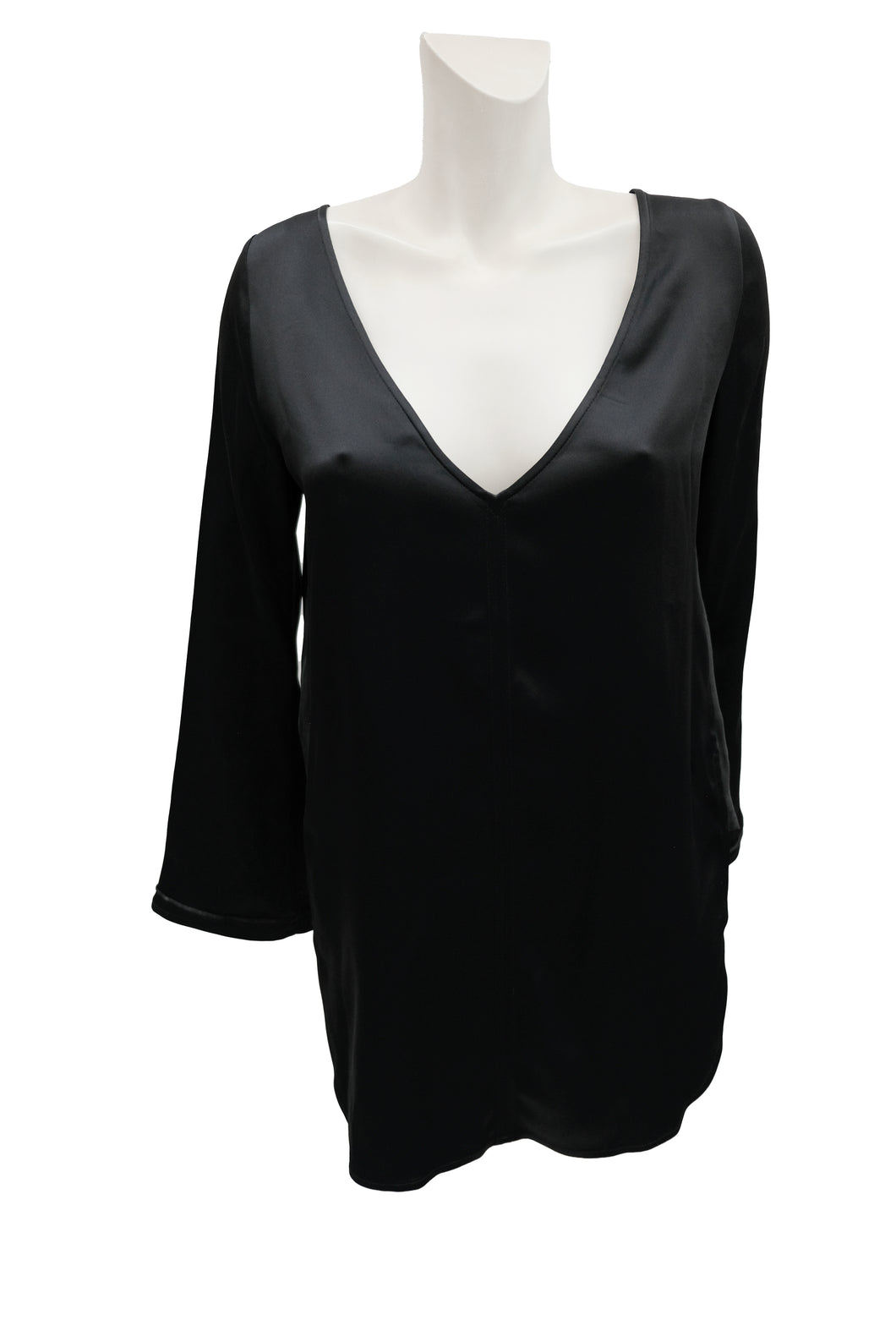 Khaite Black Satin V Neck Tunic Top, UK10