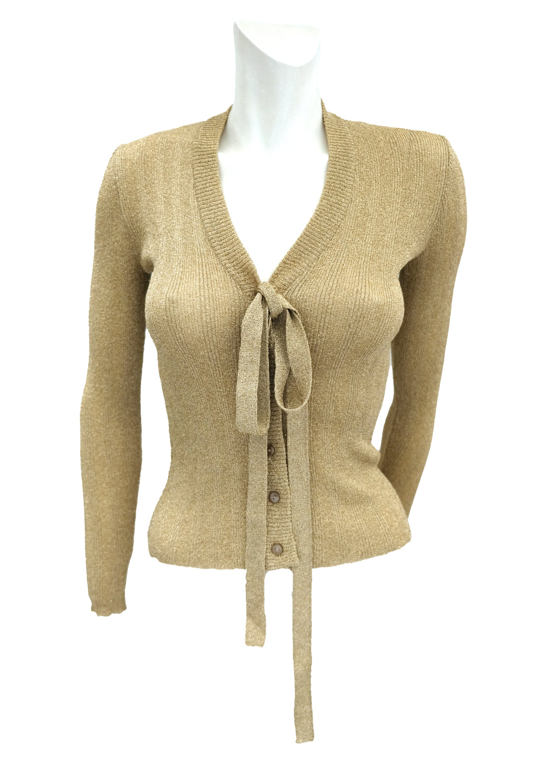 Susan Small Vintage Gold Lurex Cardigan with Tie Neck, UK8-10