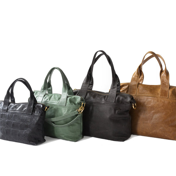 Mini in Black Gator, Small in Rainforest, Medium in Wolf, Office in Sycamore