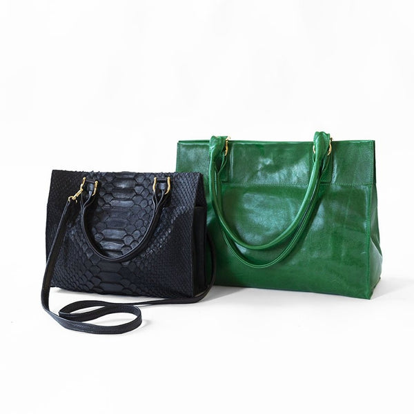 Mini in Black Python, Mary Ben Mamie in Emerald