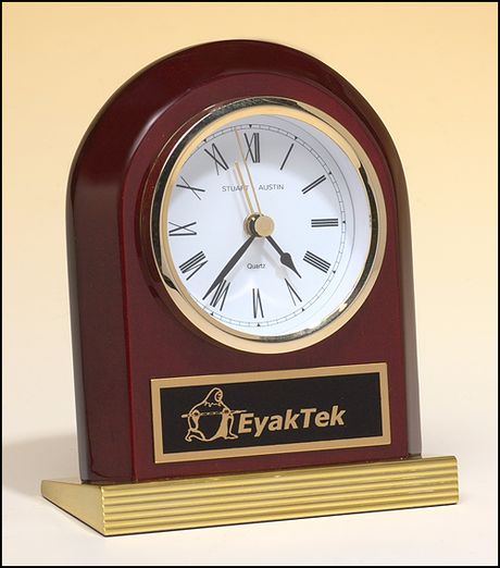 Rosewood Clock w/gold metal base