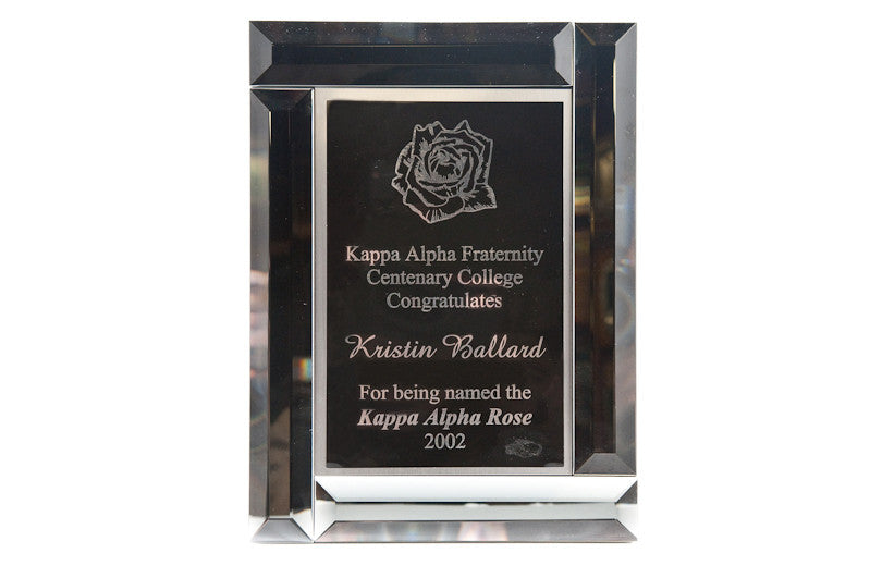 Beveled Glass Plaque w/ Laser Plate