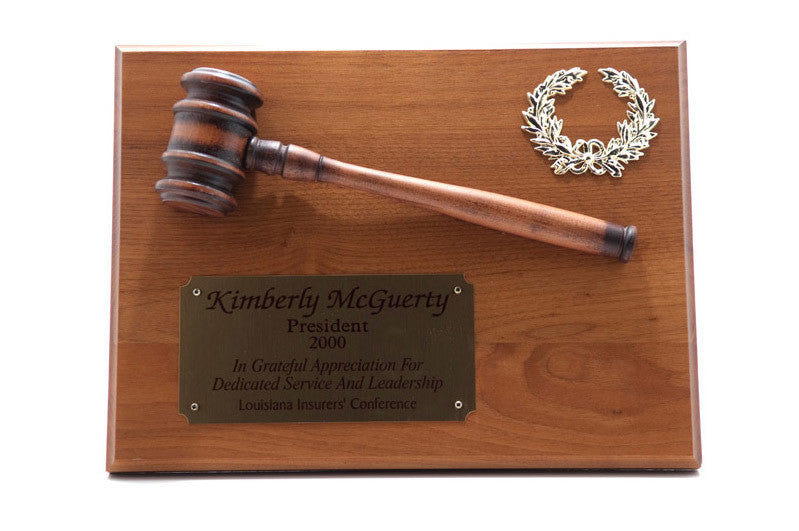 "Walnut Gavel Plaque w/ 10"" Gavel"