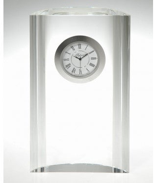 Crystal Clock with Movement and Silver Bezel