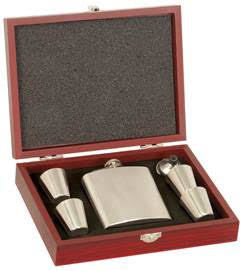 Stainless Steel Flask Set in Wooden Presentation Box
