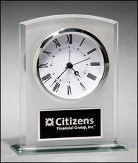 Glass Clock with Frosted Top, Polished Edges and Base