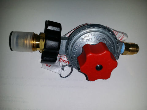 option-REGA+: REGA+ ADJUSTABLE HIGH PRESSURE 20 PSI LP (PROPANE) GAS REGULATOR W/ POL VALVE & 3/8 FLARE FITTING