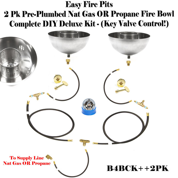 "B4BK++2PK: (2 Pack) 11"" Fire Bowls Tabletop/ Post-top Complete DELUXE  Kit for Pre Plumbed Natural Gas OR Propane/ LP (w/ Bowls)!"