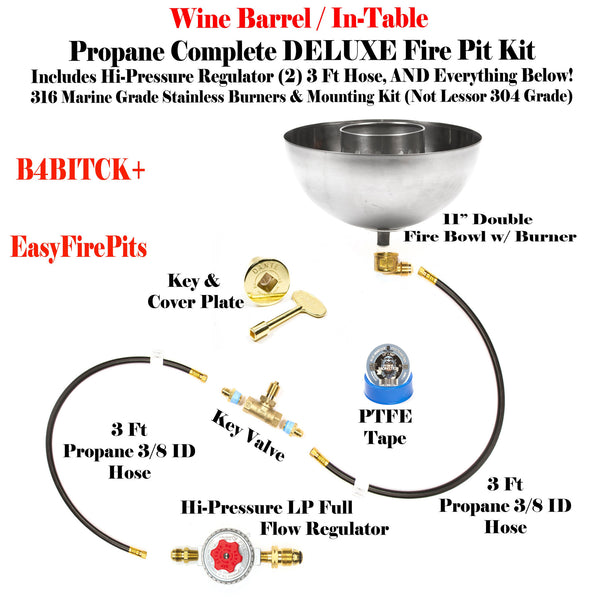 "B4BITCK+: 11"" Propane Fire Bowl w/ In-Table DIY (Do It Yourself) DELUXE LP Kit to Make a Gas Wine Barrel / Fire Table/ Fire Bowl"