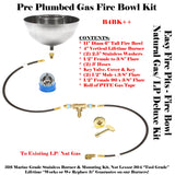 "B4BK++: Propane Tabletop/ Post-top 11"" Fire Bowl Complete DELUXE  Kit for Previously Plumbed Natural Gas OR Propane/ LP (w/ Bowls)!"