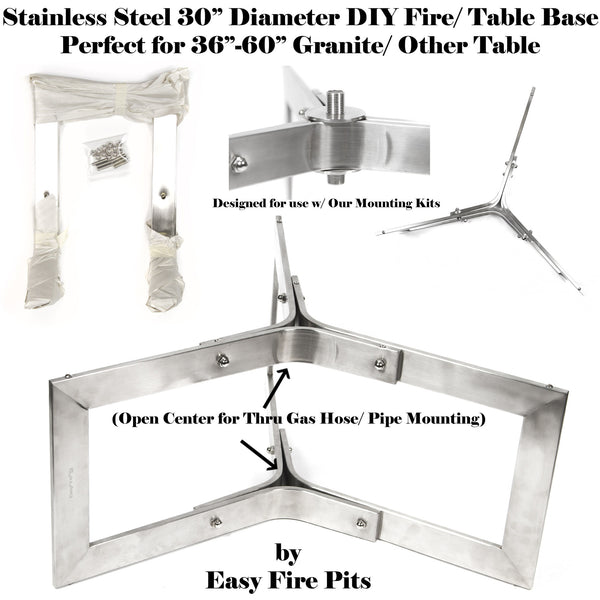 "BASE304-2PK: 2 Pack of 12"" Tall x 30"" Diameter Stainless Steel Outdoor Table Base/ Contemporary Fire Pit Base"