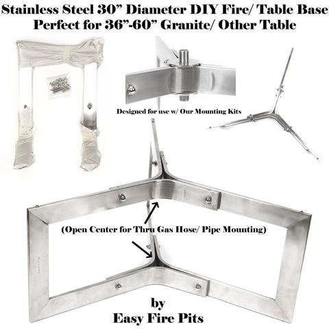 "BASE304 12"" Tall x 30"" Diameter Stainless Steel Outdoor Table Base/ Contemporary Fire Pit Base"