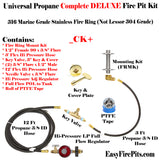 CK+ Universal Propane Complete Deluxe Fire Pit Kit - w/ Key Control - Burner Sold Separate