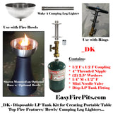 DK KIT Universal Adjustable Disposable Propane Tank Kit for DIY Fire Tables/ Bowls/ Torches