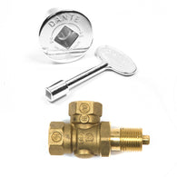 KVAC ANGLED CHROME KEY VALVE/ LOG LIGHTER VALVE, KEY and COVER
