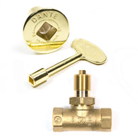 KVSB STRAIGHT BRASS KEY VALVE or LOG LIGHTER VALVE, KEY & COVER