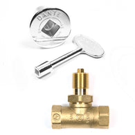 KVSC STRAIGHT CHROME KEY VALVE/ LOG LIGHTER VALVE, KEY & COVER
