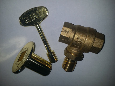 "KV34SB: STRAIGHT BRASS 3/4"" KEY VALVE or LOG LIGHTER VALVE, KEY & COVER"