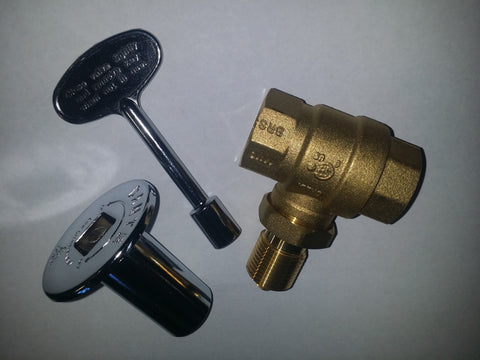 "KV34SC: STRAIGHT CHROME 3/4"" KEY VALVE or LOG LIGHTER VALVE, KEY & COVER"