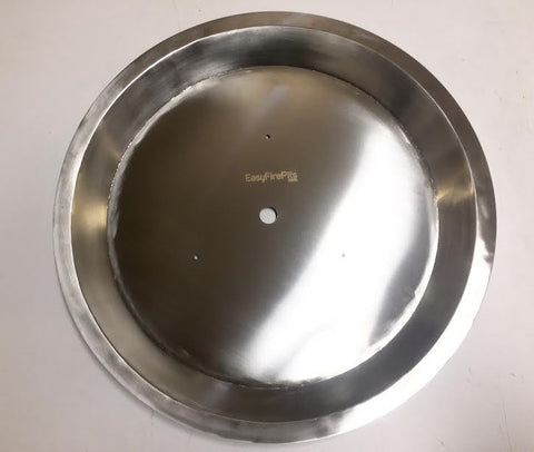 "PAN22R: Stainless 21.75"" Round Tapered Stainless Pan (inside dimensions) W/ FULL 1"" LIP; Drop In Insert for Round Fire Burners"