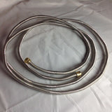 "PH12SS38: 12' (144"") Stainless Steel 3/8 Female Flared ""WHISTLE FREE"" Flexible High Pressure Propane/ Natural Gas Hose w/ Brass Female Flared Ends"