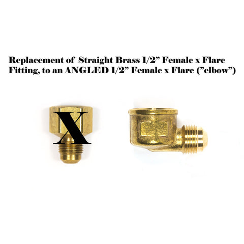 "option-PHA12F-2-PHA12F-90: Replaces Straight Female 1/2"" x Flare Fitting to ANGLED (Elbow) Female x Flare Fitting"