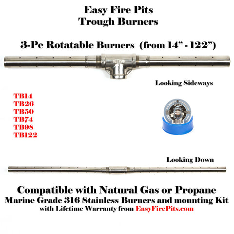 "TB26: 26"" 3-Pc Trough Burner (90 Deg Flames) in Marine Grade 316 Stainless"