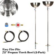 "TORCH72BCK-2PK 72"" Portable Propane Stainless Steel Tiki Type Gas Torches w Bowls & All Except LP Tank"