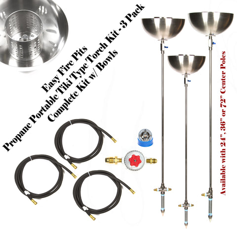 "TORCH24BCK-3PK 24"" Portable Propane Stainless Steel Tiki Type Torches w Bowls- All Except LP Tank"