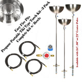 "Torch72BCK-3PK: (3 Pack) Portable Propane 72"" Stainless Steel Tiki Type Torches w/ All Except LP Tank"
