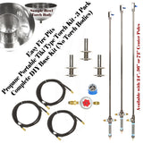 "TORCH24CK-3PK: (3 Pack) Portable Propane 24"" Stainless Steel ""Make Your Own"" Tiki Type Torches (burner w/ no bowls) w/ All Except LP Tank"