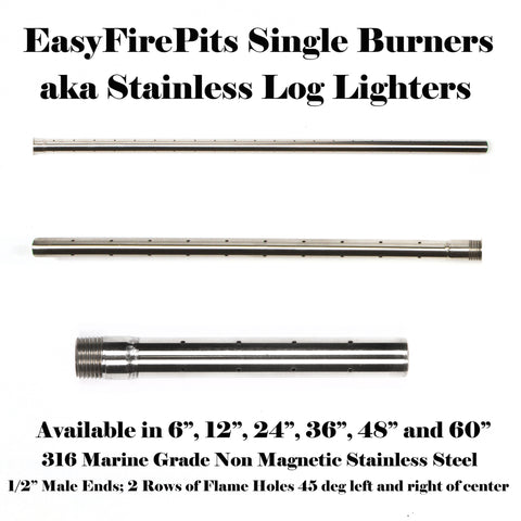 "B12: SINGLE 12"" HORIZONTAL BURNER / (STAINLESS LOG LIGHTER)"