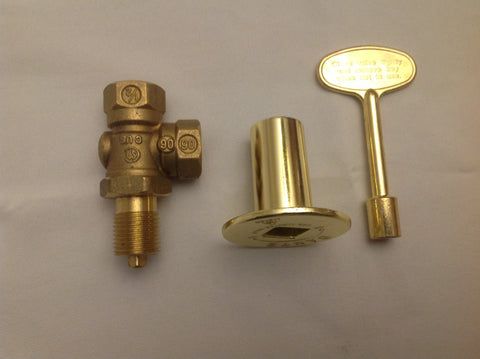 KVAB ANGLED BRASS KEY VALVE/ LOG LIGHTER VALVE, KEY AND COVER