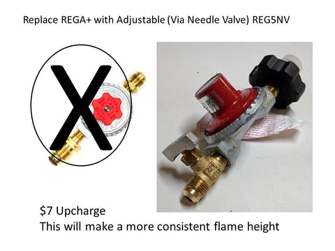 OPTION-REG5NV:  SWAP REGULATOR IN KIT WITH ADJUSTABLE VIA NEEDLE VALVE HIGH PRESSURE 5 PSI LP (PROPANE) GAS REGULATOR