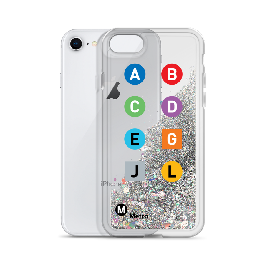 Metro Line Letters Liquid Glitter Phone Case - Los Angeles Metro Shop