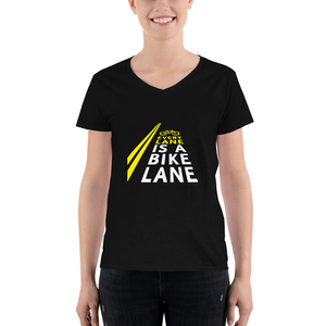 Every Lane Is A Bike Lane Women's V-Neck Shirt
