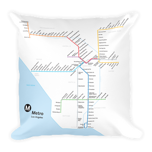 Go Metro Map Square Pillow - Los Angeles Metro Shop