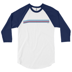 Blue Line Vintage Stripes 3/4 sleeve raglan shirt - Los Angeles Metro Shop