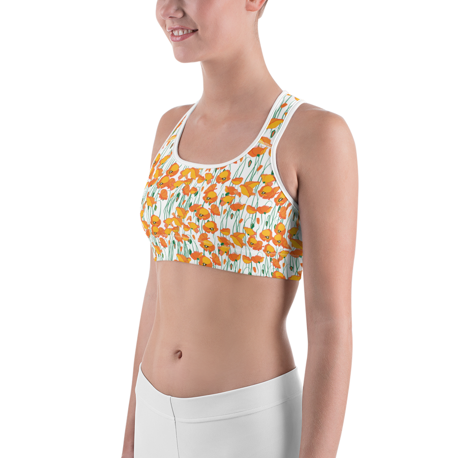 Poppies All-Over Print Sports Bra - Los Angeles Metro Shop