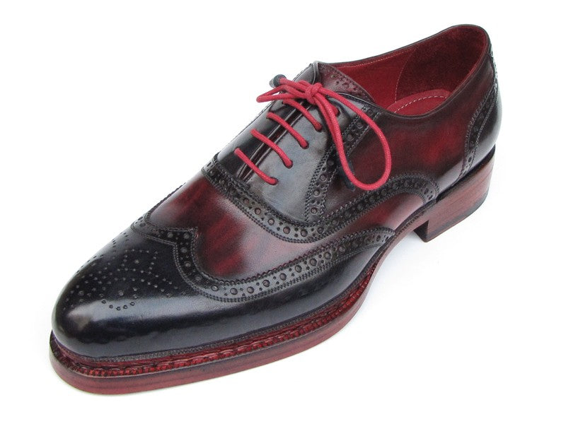 Paul Parkman Men's Triple Leather Sole Wingtip Brogues Navy & Red (ID#027-TRP-NVYBRD) - mroutfit