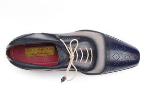 Paul Parkman Men's Captoe Oxfords - Navy / Beige  Suede Upper and Leather Sole (ID#024-BLS) - mroutfit