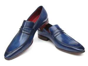 Paul Parkman Men's Loafer Shoes Navy  (ID#068-BLU) - mroutfit